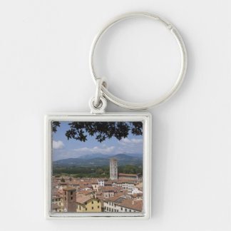 Italy, Tuscany, Lucca, View of the town and 4 Silver-Colored Square Keychain
