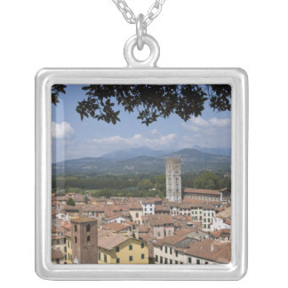 Italy, Tuscany, Lucca, View of the town and 4 Silver Plated Necklace