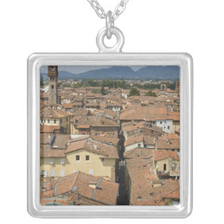 Italy, Tuscany, Lucca, View of the town and Silver Plated Necklace