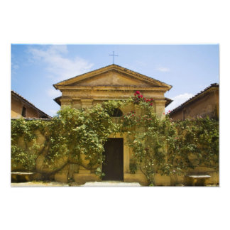 Italy, Tuscany, Old Rose Covered Church in Photo Print