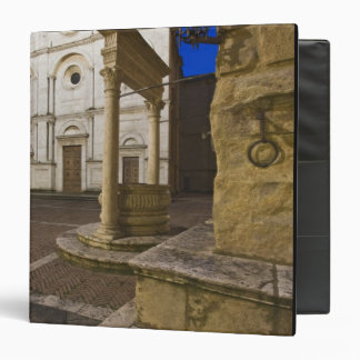 Italy, Tuscany, Pienza. Cathedral facade and 3 Ring Binders