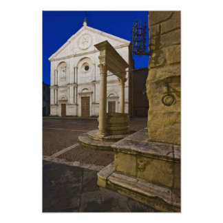 Italy, Tuscany, Pienza. Cathedral facade and Poster