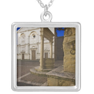 Italy, Tuscany, Pienza. Cathedral facade and Silver Plated Necklace