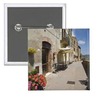 Italy, Tuscany, Pienza. Outer walkway around Pinback Button