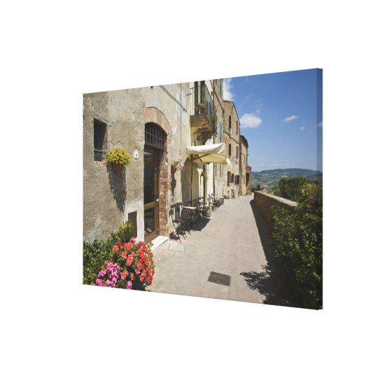 Italy, Tuscany, Pienza. Outer walkway around Canvas Print