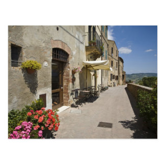 Italy, Tuscany, Pienza. Outer walkway around Postcard