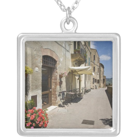 Italy, Tuscany, Pienza. Outer walkway around Silver Plated Necklace