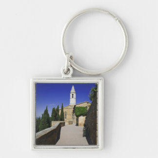 Italy, Tuscany, Pienza. Part of Via dell' Silver-Colored Square Keychain