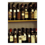 Italy, Tuscany, Pienza Wine display in shop Card