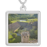 Italy, Tuscany. Roofop view of the villa Silver Plated Necklace