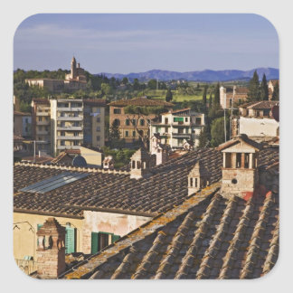 Italy, Tuscany, Siena. Rooftop view of city Square Sticker