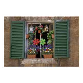 Italy, Tuscany, Siena, Window of a house in Poster