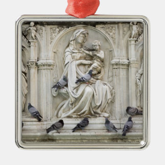 Italy, Tuscany, Sienna. Statues and birds on Square Metal Christmas Ornament
