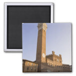 Italy, Tuscany, Sienna. Torre del Mangia on 2 Inch Square Magnet
