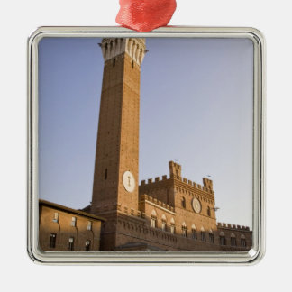 Italy, Tuscany, Sienna. Torre del Mangia on Square Metal Christmas Ornament
