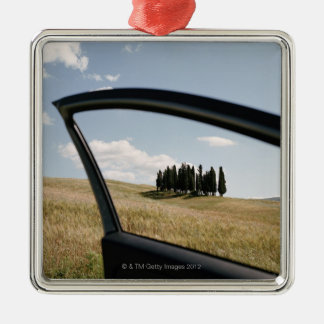 Italy,Tuscany,Val d'Orcia,Cypress trees in the Metal Ornament