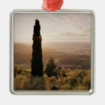 Italy,Tuscany,Val d'Orcia,Montalcino Square Metal Christmas Ornament