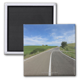 Italy, Tuscany, Val d'Orcia, Road 2 Inch Square Magnet