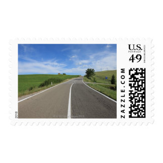 Italy, Tuscany, Val d'Orcia, Road Postage