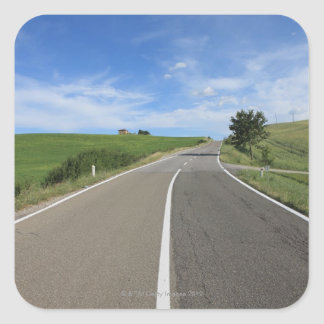 Italy, Tuscany, Val d'Orcia, Road Square Sticker