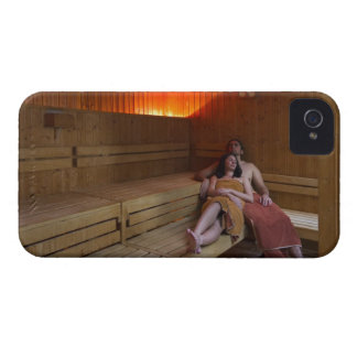 Italy, Tuscany, Young couple relaxing in sauna iPhone 4 Case-Mate Case