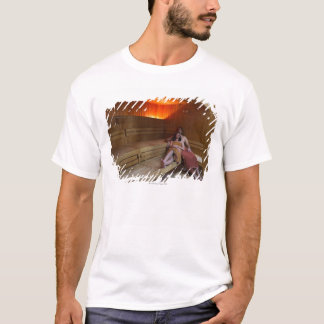 Italy, Tuscany, Young couple relaxing in sauna T-Shirt