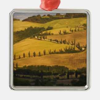 Italy, Tuscany, ZigZag Road in Tuscany. Square Metal Christmas Ornament