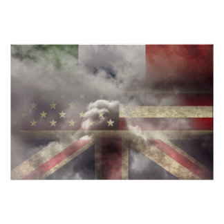 Italy, US and UK flags Print