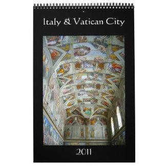 italy & vatican 2011 single page calendar