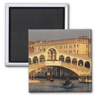 Italy, Veneto, Venice, Canal Grande and Rialto 2 Inch Square Magnet