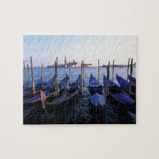 Italy, Veneto, Venice, Row of Gondolas and San Jigsaw Puzzle