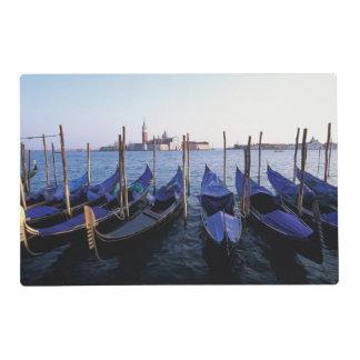Italy, Veneto, Venice, Row of Gondolas and San Laminated Placemat