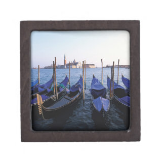 Italy, Veneto, Venice, Row of Gondolas and San Premium Jewelry Box