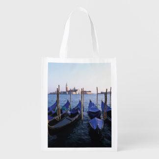 Italy, Veneto, Venice, Row of Gondolas and San Reusable Grocery Bag