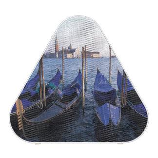 Italy, Veneto, Venice, Row of Gondolas and San Speaker