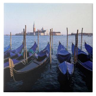 Italy, Veneto, Venice, Row of Gondolas and San Tile
