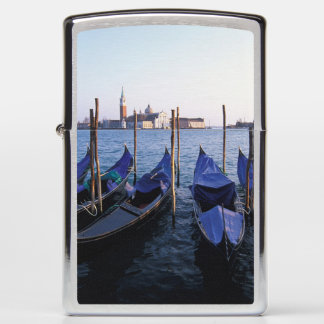 Italy, Veneto, Venice, Row of Gondolas and San Zippo Lighter