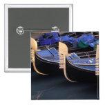 Italy, Veneto, Venice. Row of Gondolas. Pinback Button