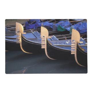 Italy, Veneto, Venice. Row of Gondolas. Laminated Place Mat