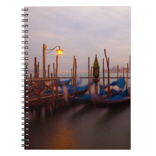 Italy, Venice. Anchored gondolas at twilight. Spiral Note Book