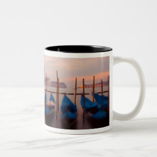 Italy, Venice. Anchored gondolas at twilight. Two-Tone Coffee Mug