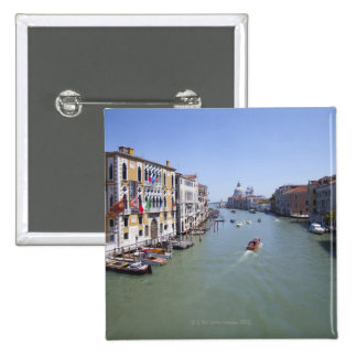 Italy, Venice, Boats on canal in city Button