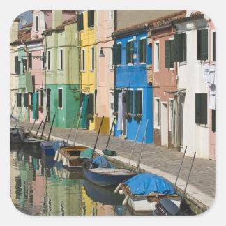 Italy, Venice, Burano. Multicolored houses along 2 Square Sticker