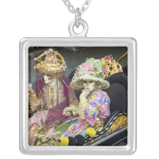Italy, Venice. Couple dressed in costumes for Silver Plated Necklace