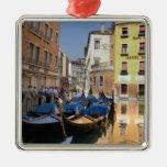 Italy, Venice, gondolas moored along canal Metal Ornament
