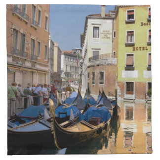 Italy, Venice, gondolas moored along canal Cloth Napkin