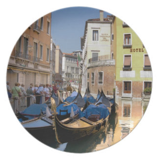 Italy, Venice, gondolas moored along canal Party Plate