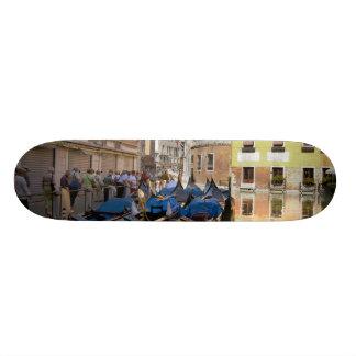 Italy, Venice, gondolas moored along canal Custom Skate Board
