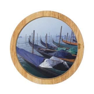Italy, Venice. Gondolas. Round Cheeseboard