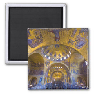 Italy, Venice. Interior of St. Marks Cathedral. 2 Inch Square Magnet